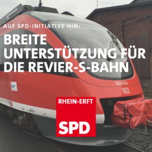 Text über Foto von s-Bahn: SPD Initiative sorgt für Unterstützung der Revier S-Bahn